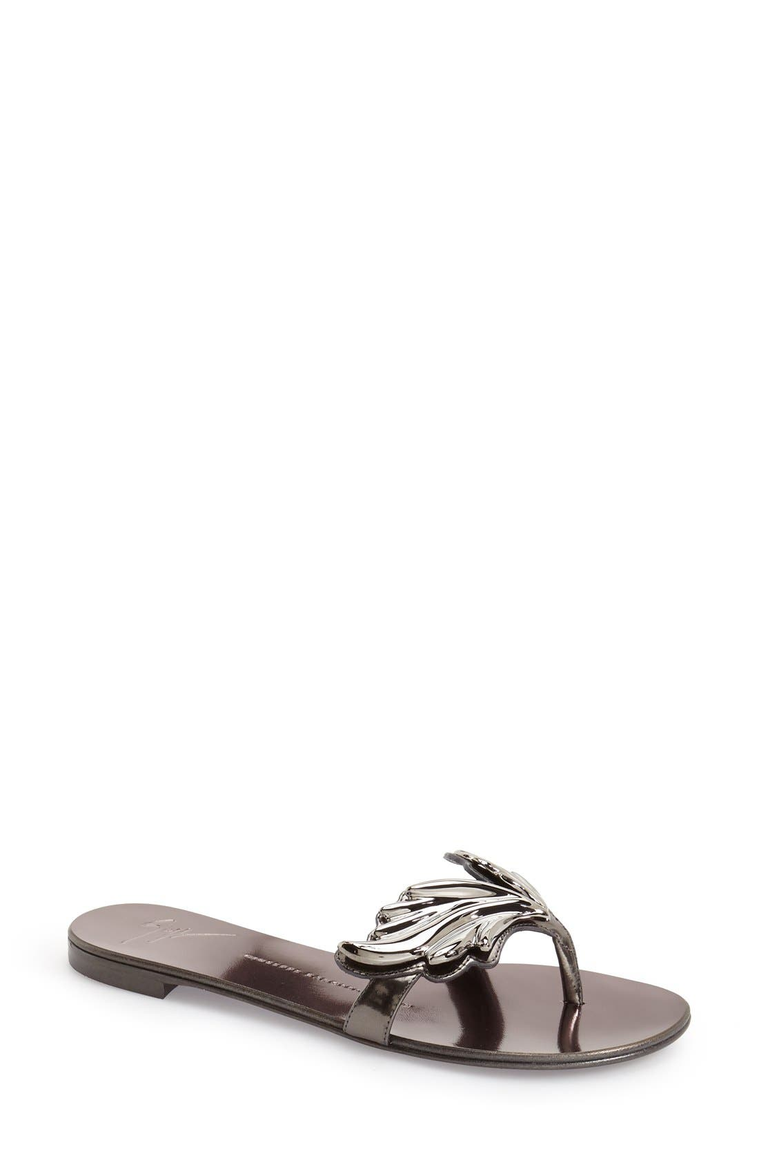 'Coline' Sandal,                         Main,                         color, Pewter Leather