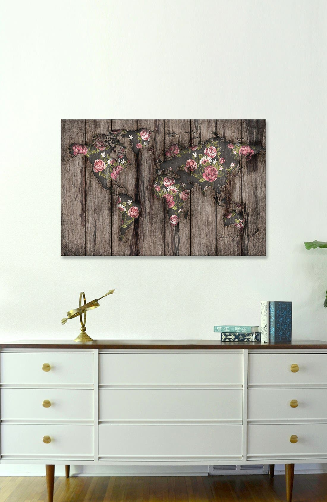 Alternate Image 2  - iCanvas 'Wood Flowers Mapamundi' Giclée Print Canvas Art