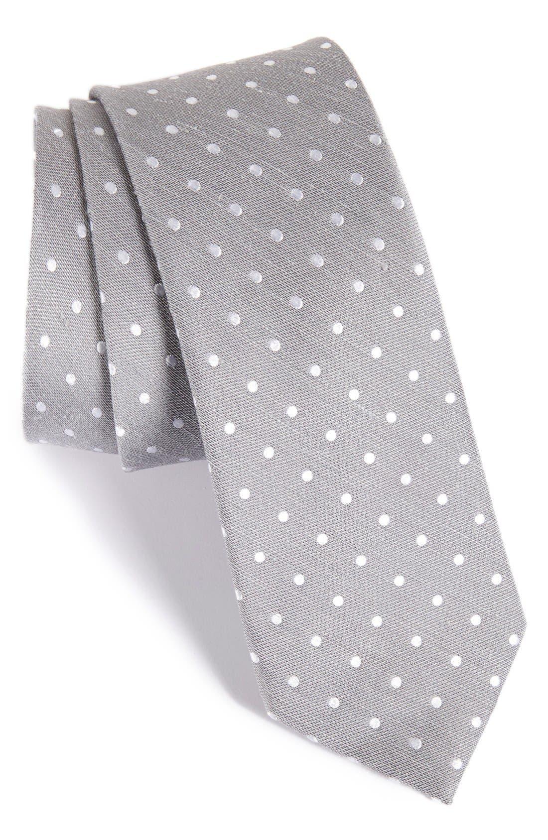 Dot Silk & Linen Tie,                             Main thumbnail 1, color,                             Silver