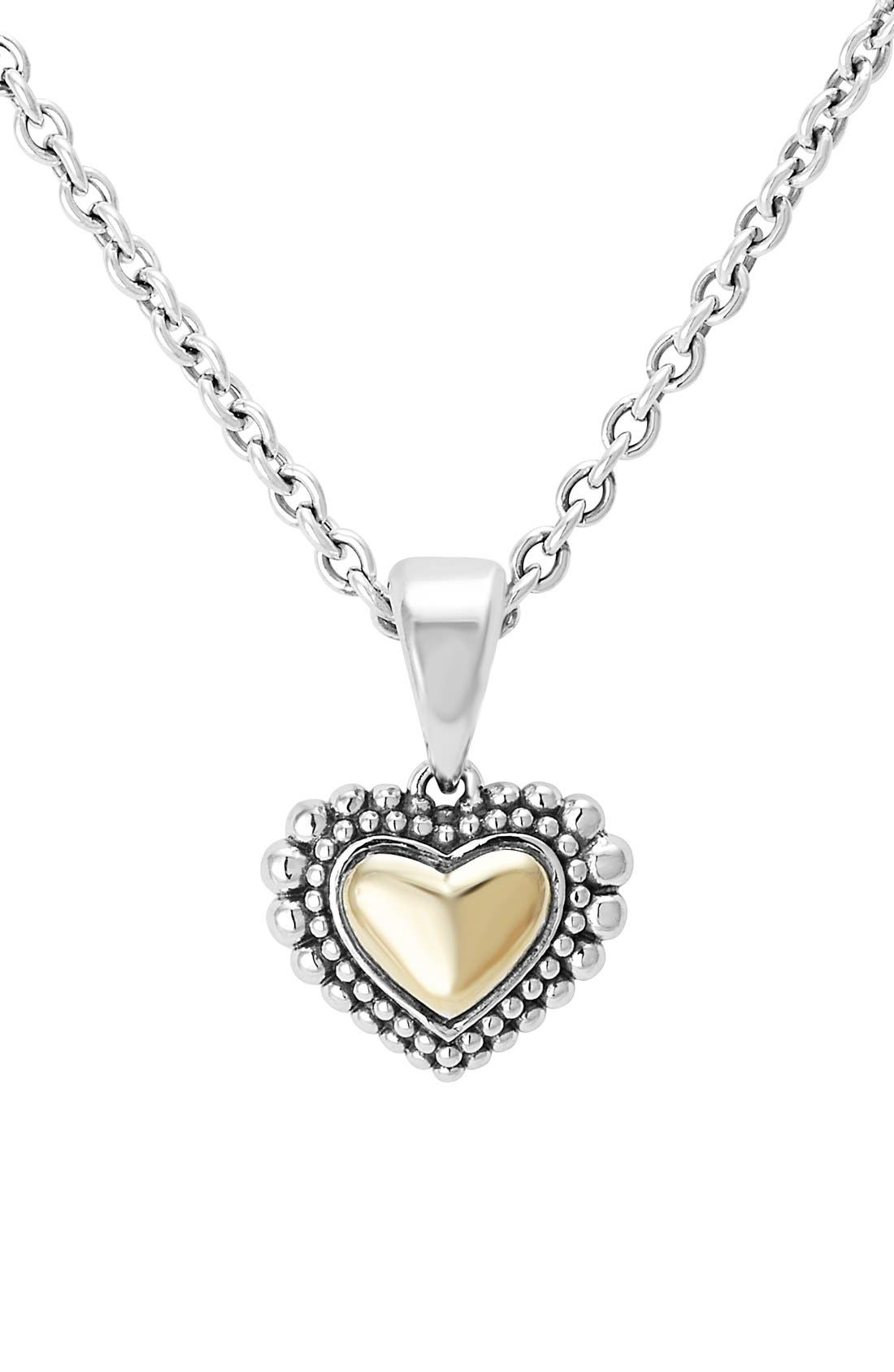 Two-Tone Heart Pendant Necklace,                         Main,                         color, Silver/ Gold