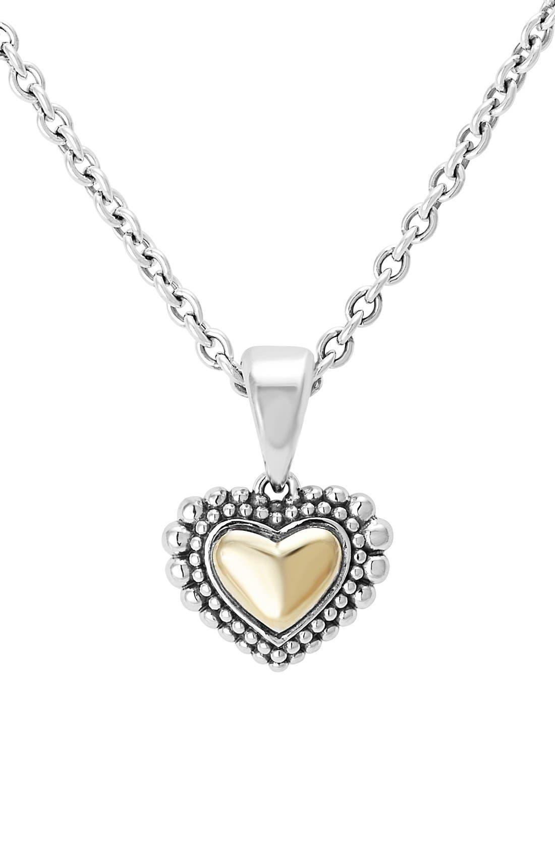LAGOS Two-Tone Heart Pendant Necklace
