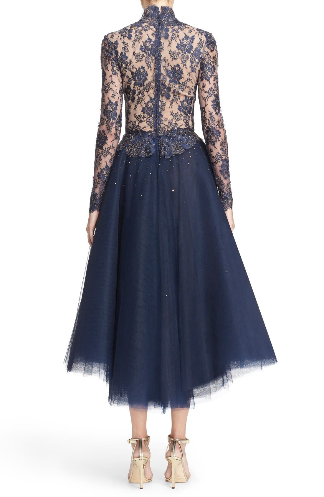 Chantilly Lace & Embellished Tulle High/Low Dress,                             Alternate thumbnail 2, color,                             Navy