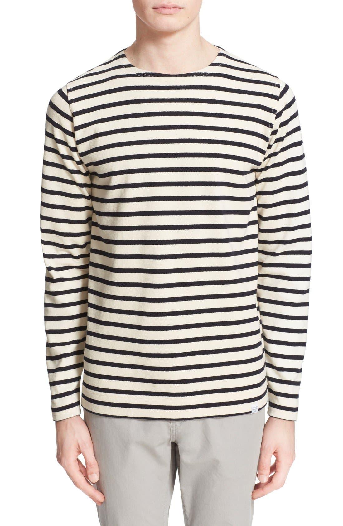 'Godtfred' Stripe Long Sleeve T-Shirt,                             Main thumbnail 1, color,                             Ecru Navy
