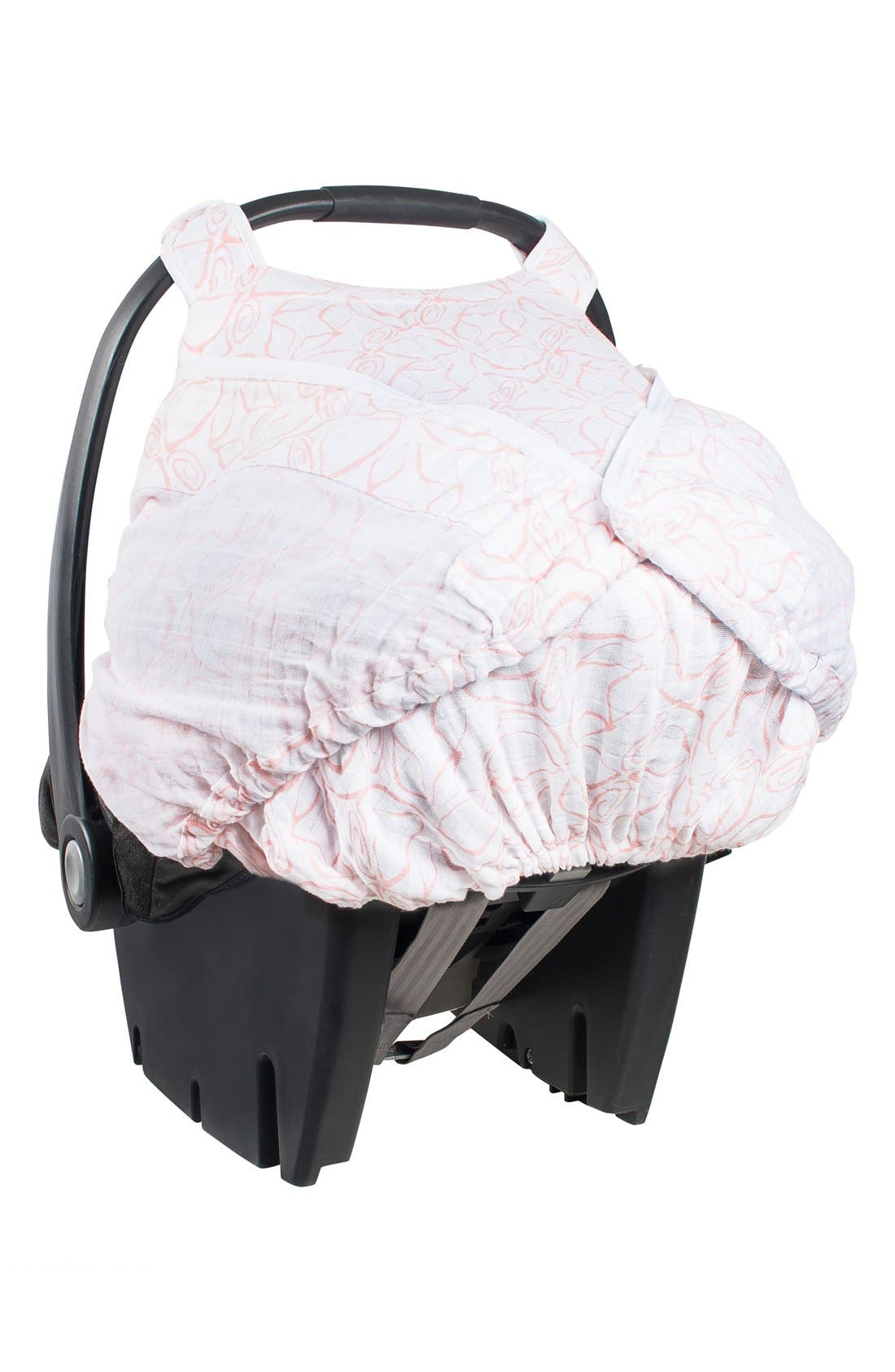 Muslin Car Seat Cover,                             Alternate thumbnail 2, color,                             White/ Pink