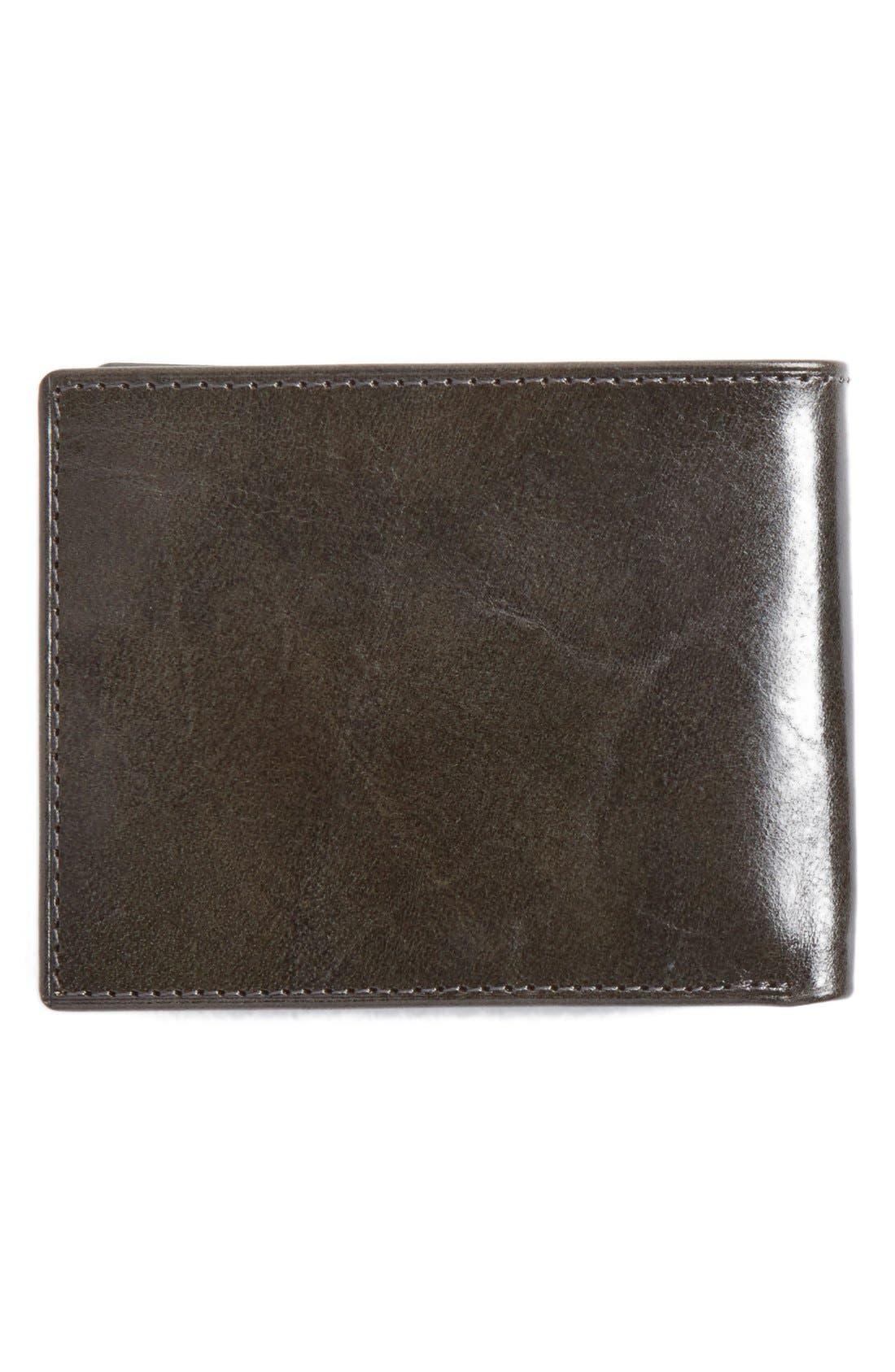Flip Billfold Leather Wallet,                             Alternate thumbnail 4, color,                             Charcoal