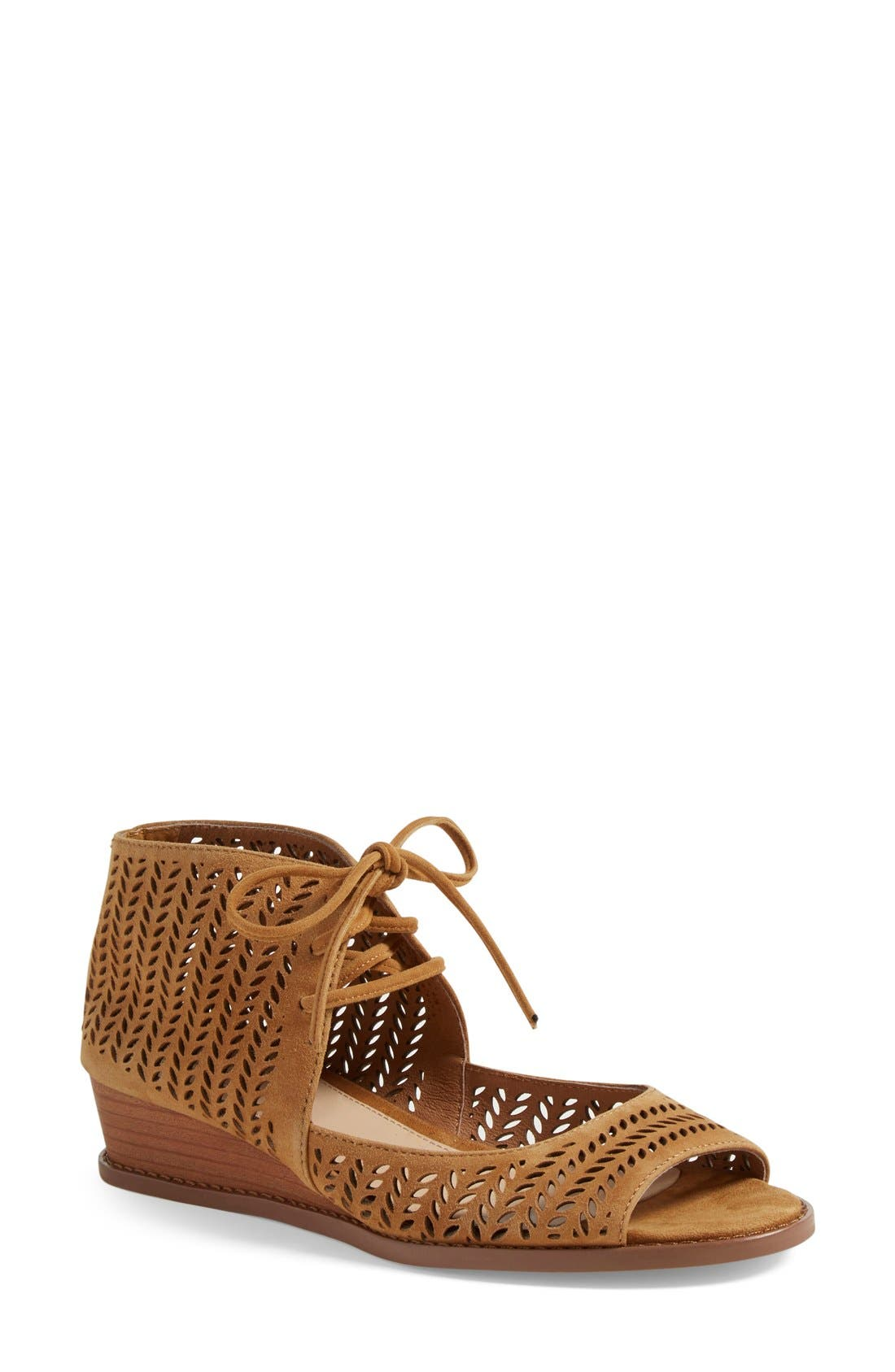 'Remme' Cutout Lace-Up Wedge Sandal,                             Main thumbnail 1, color,                             New Rust Suede