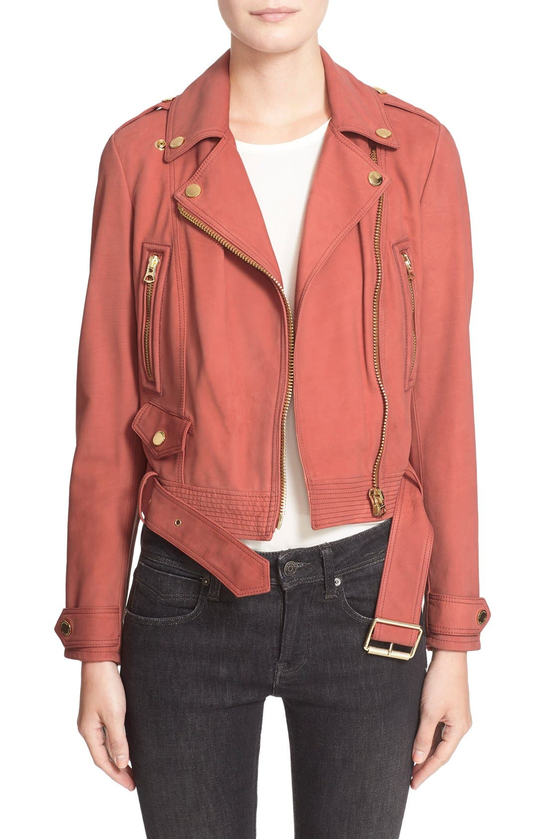 Main Image - Burberry Brit 'Pattersby' Suede Moto Jacket