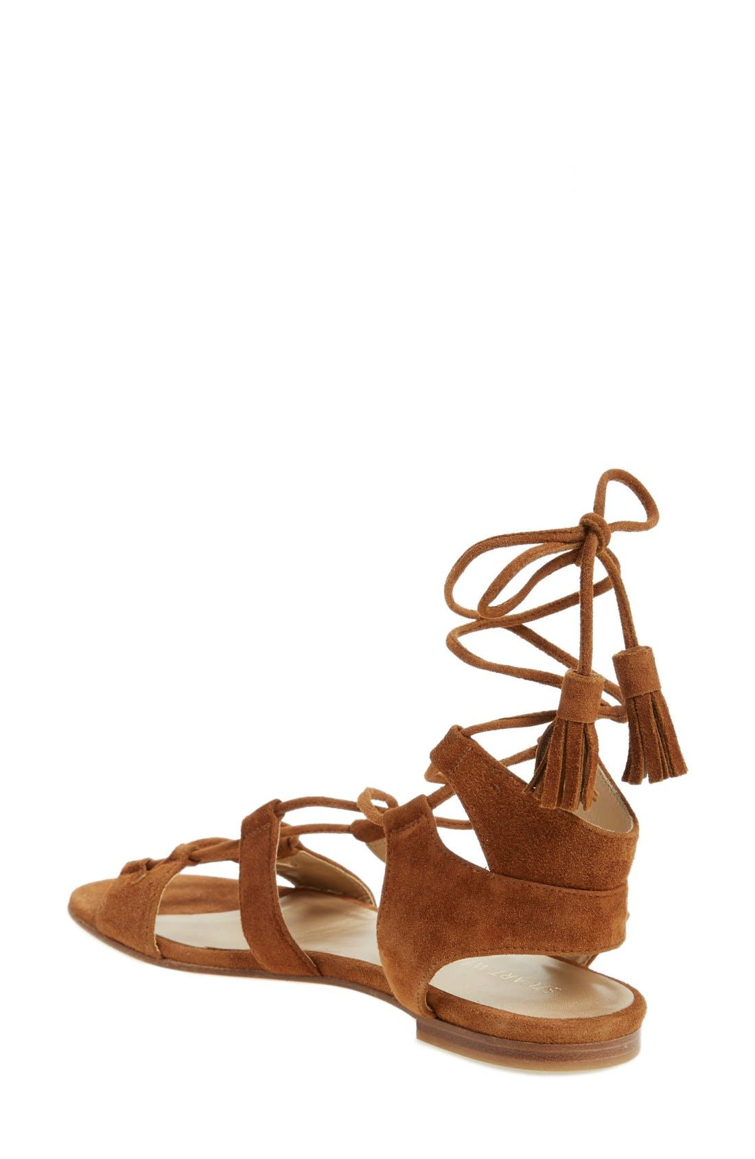 'Romanflat' Ghillie Sandal,                             Alternate thumbnail 2, color,                             Amaretto Suede