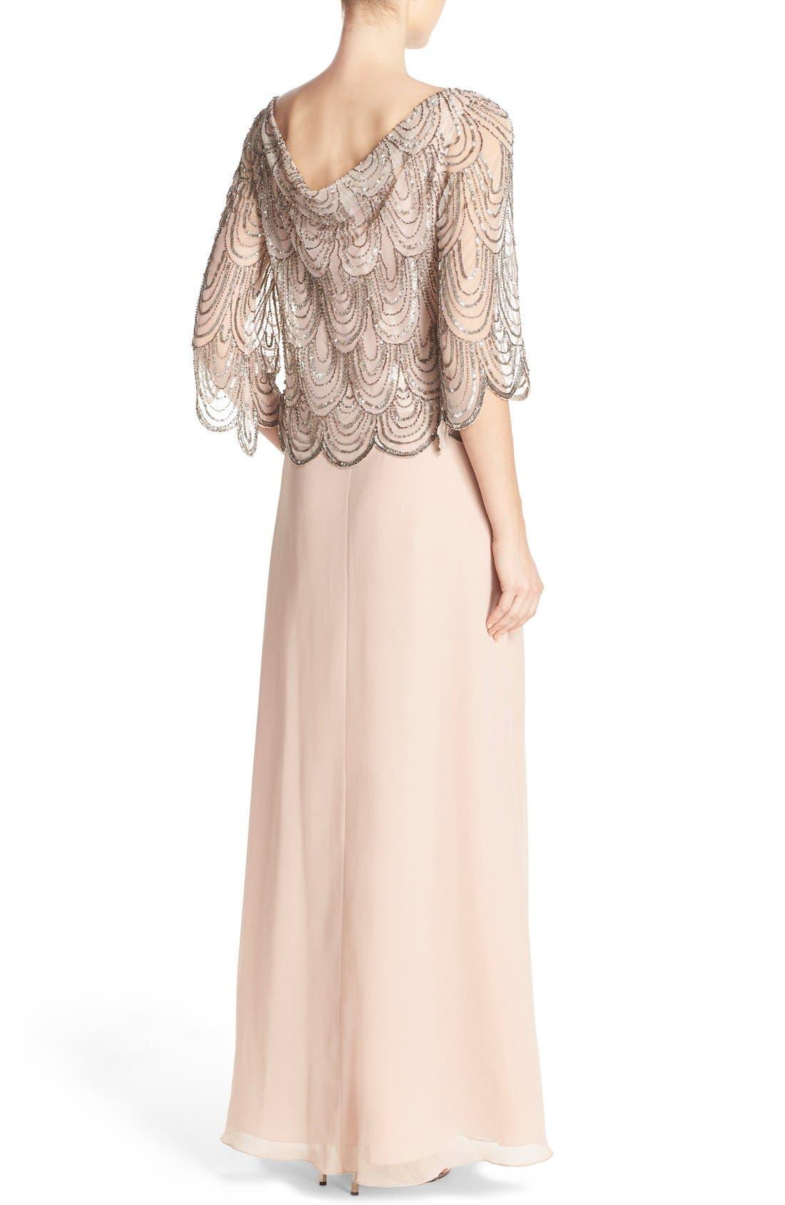 Alternate Image 2  - J Kara Scallop Embellished Popover Gown