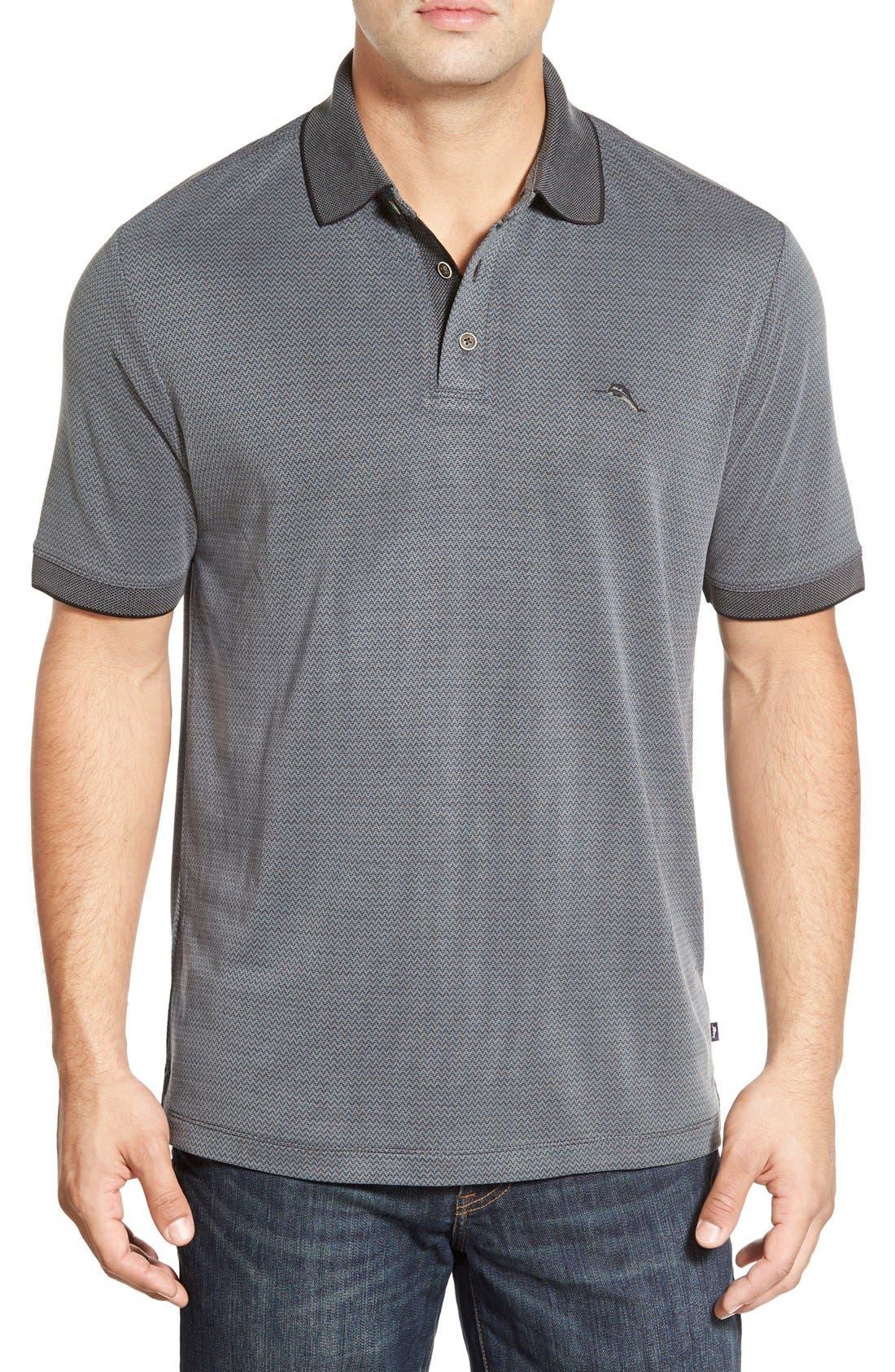 Ocean View Short Sleeve Jacquard Polo,                         Main,                         color, Black