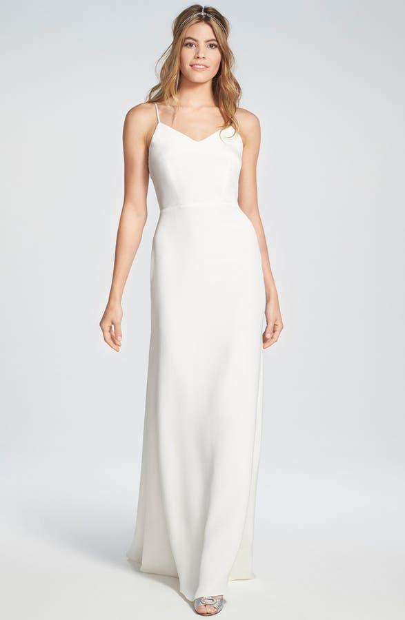 Sarah Seven \'Marseilles\' Spaghetti Strap Open Back Silk Crepe Gown ...