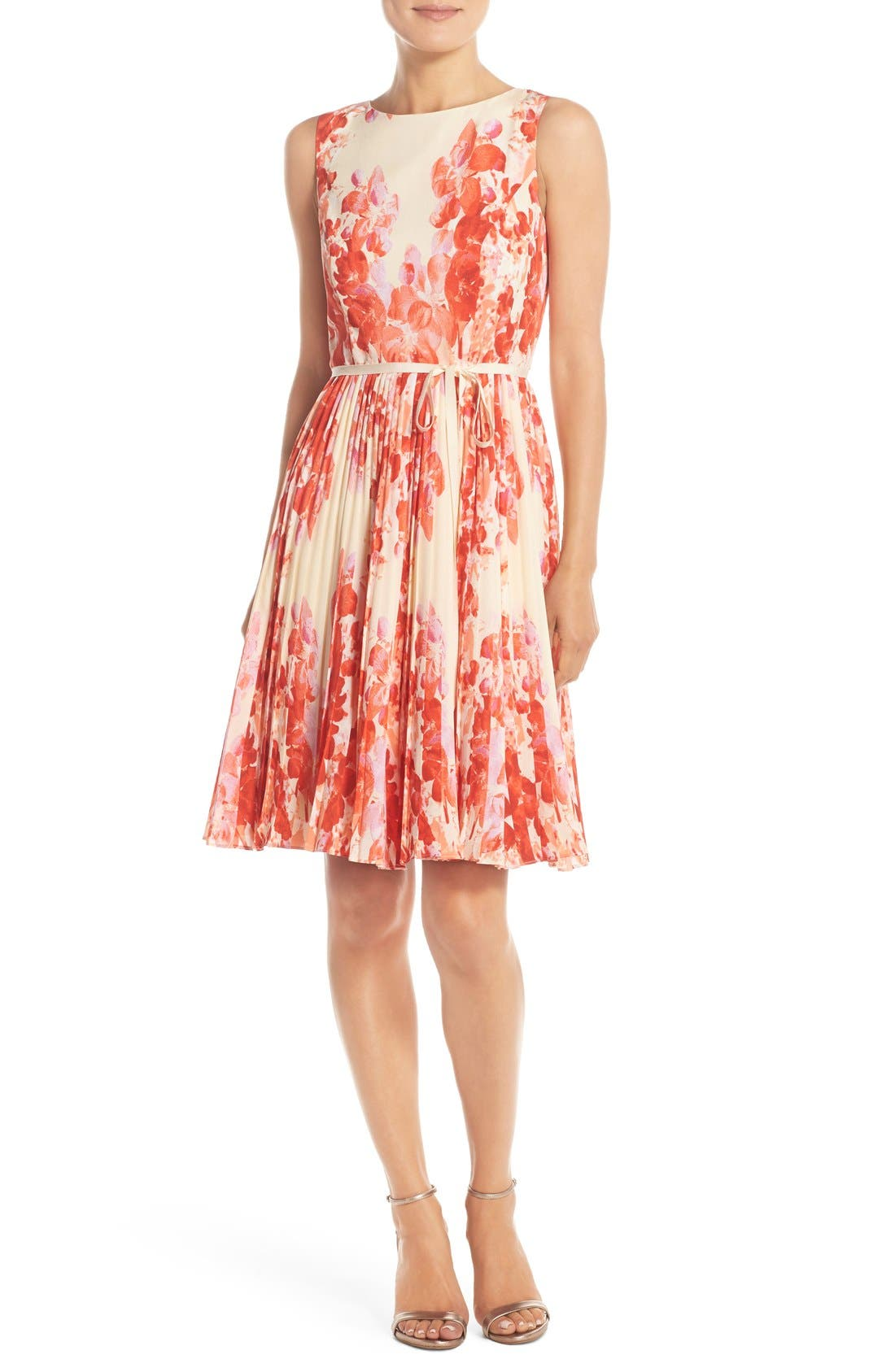 Adrianna Papell Floral Print Pleat Fit & Flare Dress