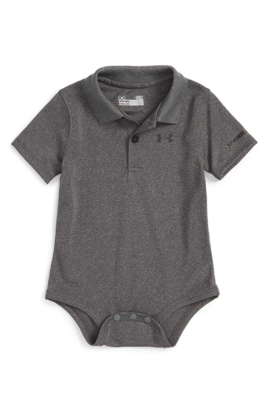HeatGear<sup>®</sup> Polo Bodysuit,                             Main thumbnail 1, color,                             Carbon Heather