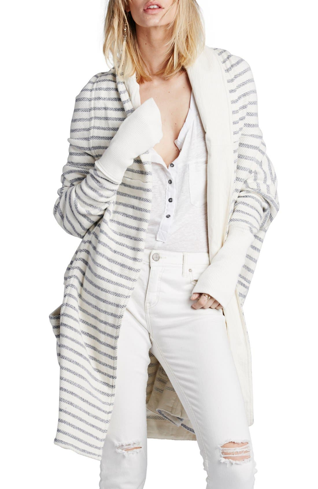 Alternate Image 1 Selected - Free People 'Long Island' Stripe Hooded Cardigan