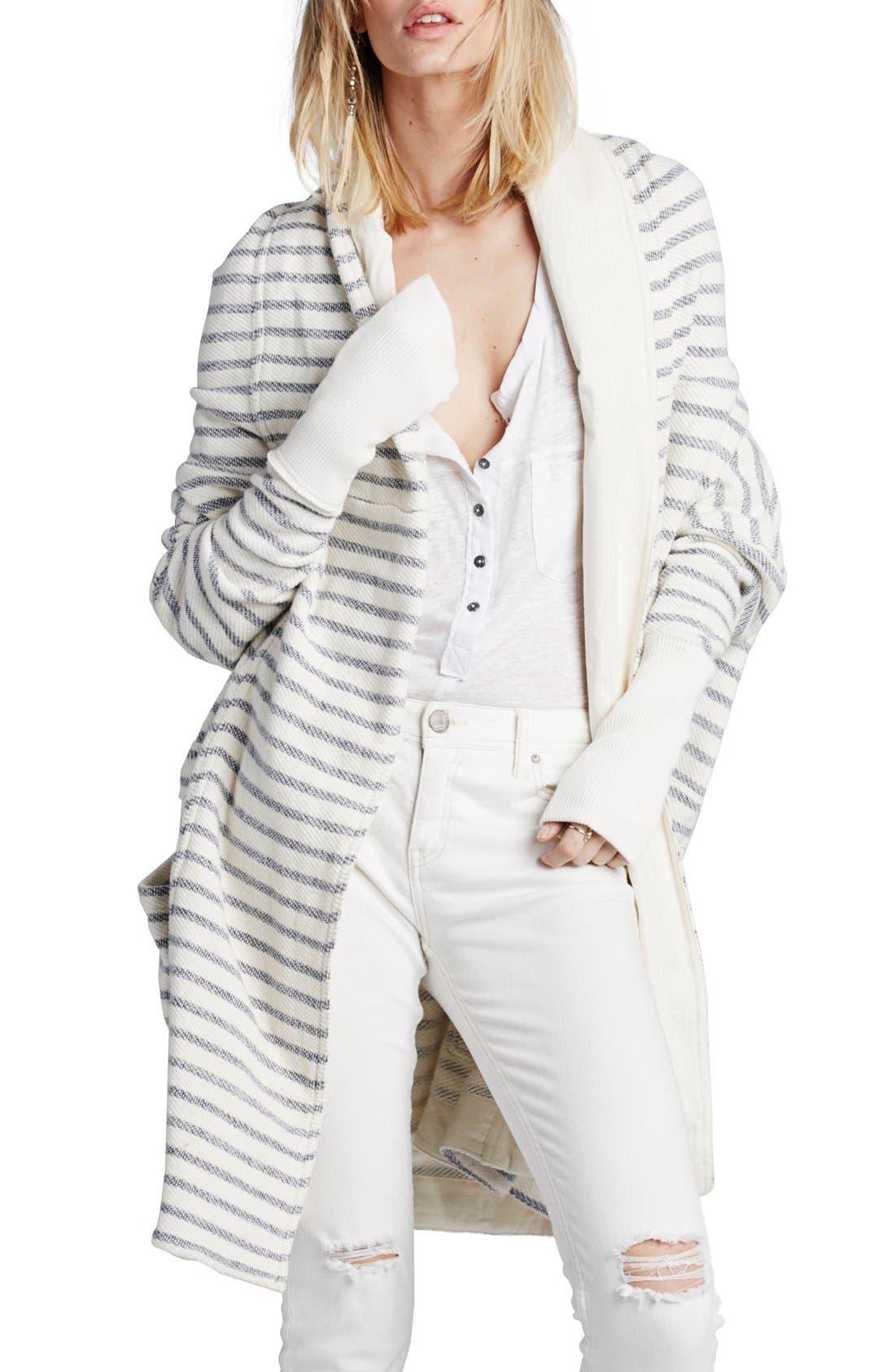 Main Image - Free People 'Long Island' Stripe Hooded Cardigan