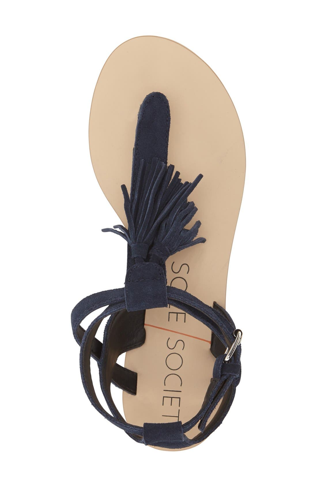 'Pandora' Fringe Sandal,                             Alternate thumbnail 3, color,                             Navy