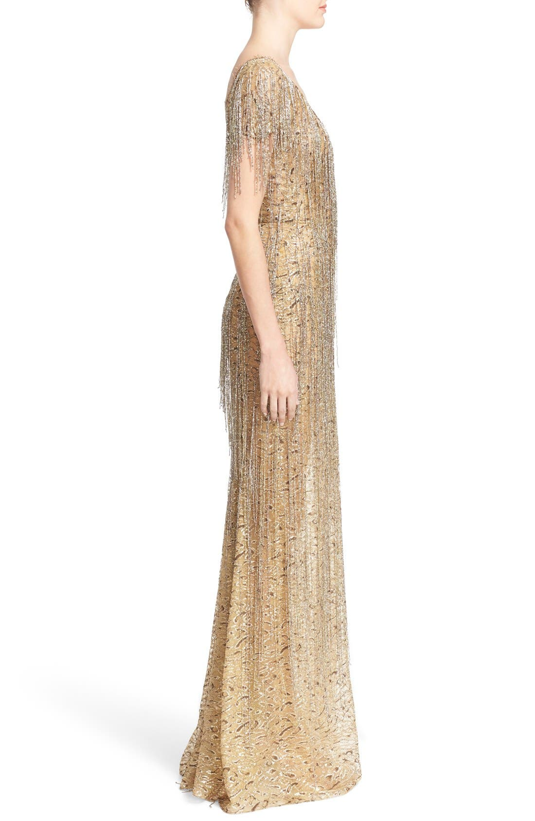 Alternate Image 4  - Marchesa Bugle Bead Fringe Leopard Lace Column Gown
