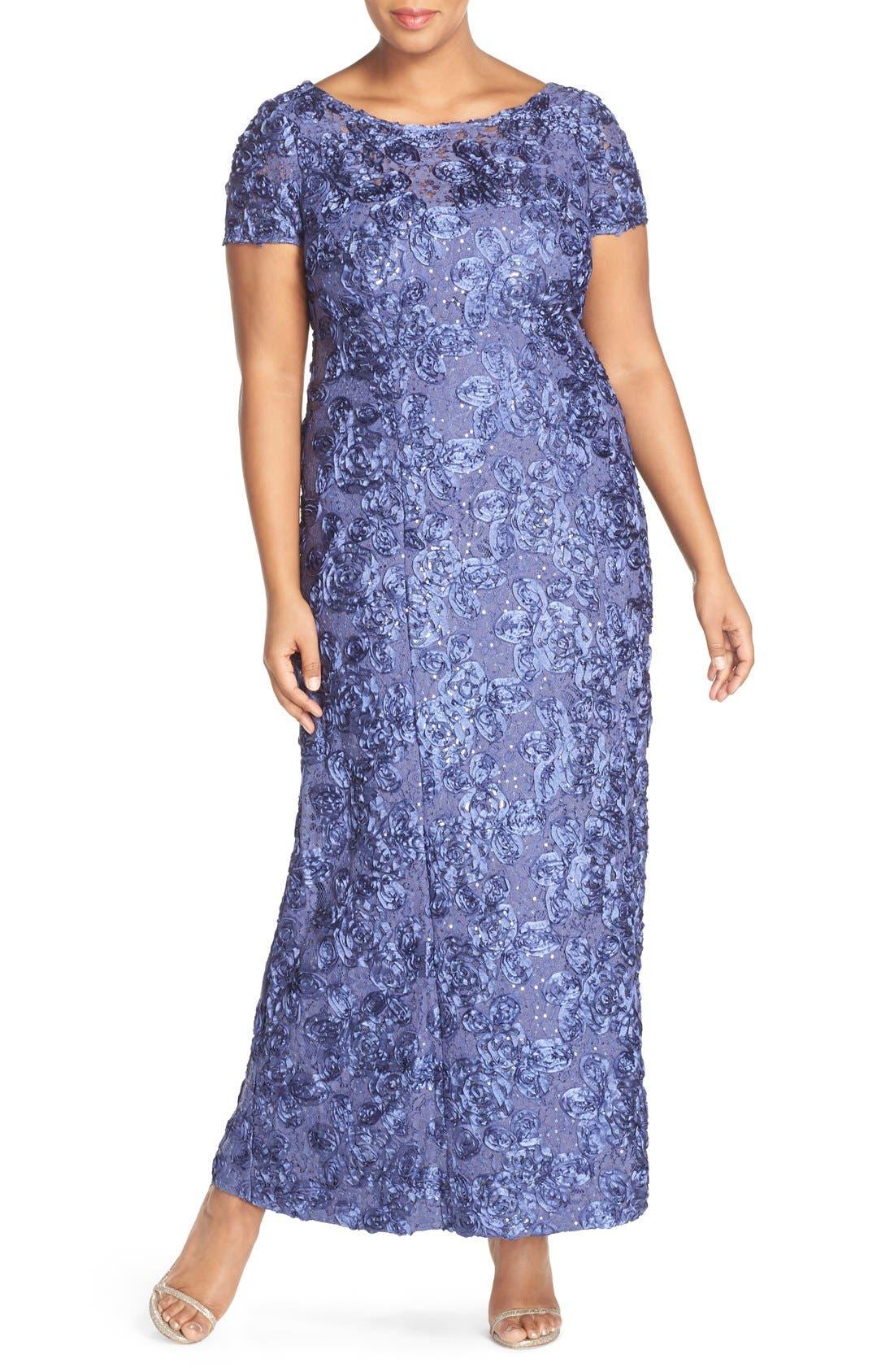 Alternate Image 1 Selected - Alex Evenings Rosette Lace Short Sleeve A-Line Gown (PlusSize)