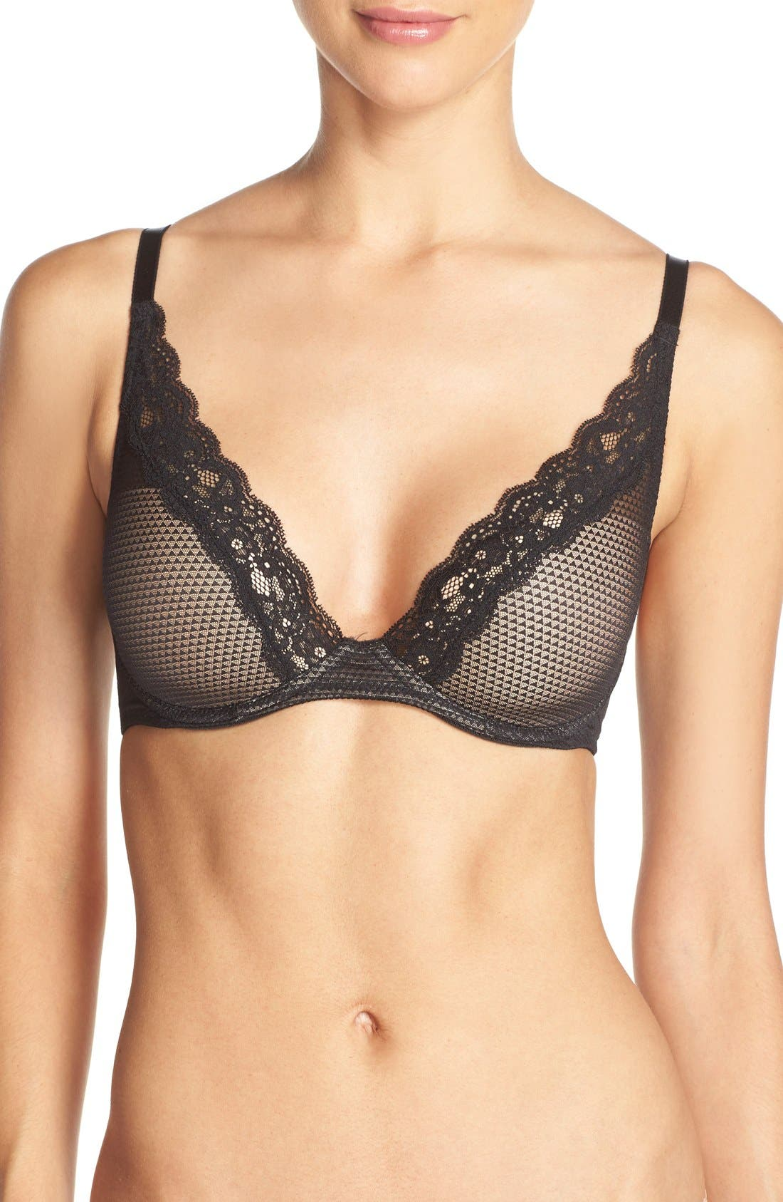 'Brooklyn' Underwire T-Shirt Bra,                             Main thumbnail 1, color,                             Black