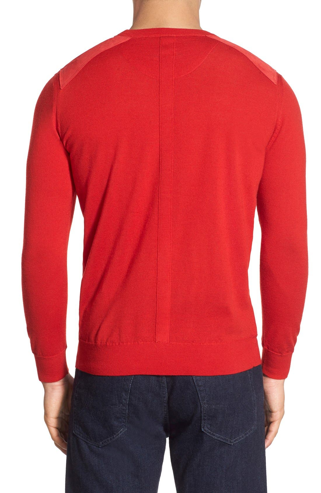 Regular Fit Crewneck Sweater,                             Alternate thumbnail 5, color,                             Cherry