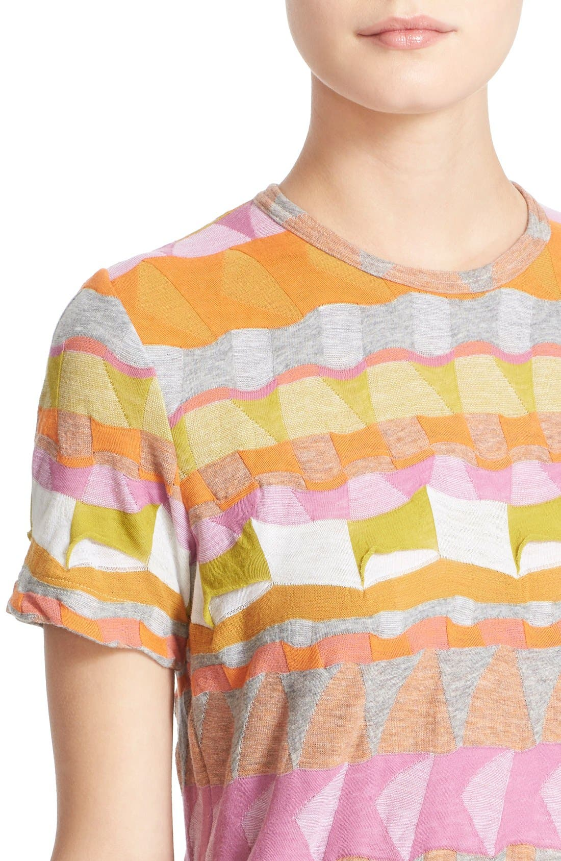 Multi Border Jacquard Top,                             Alternate thumbnail 6, color,                             Pink/ Orange