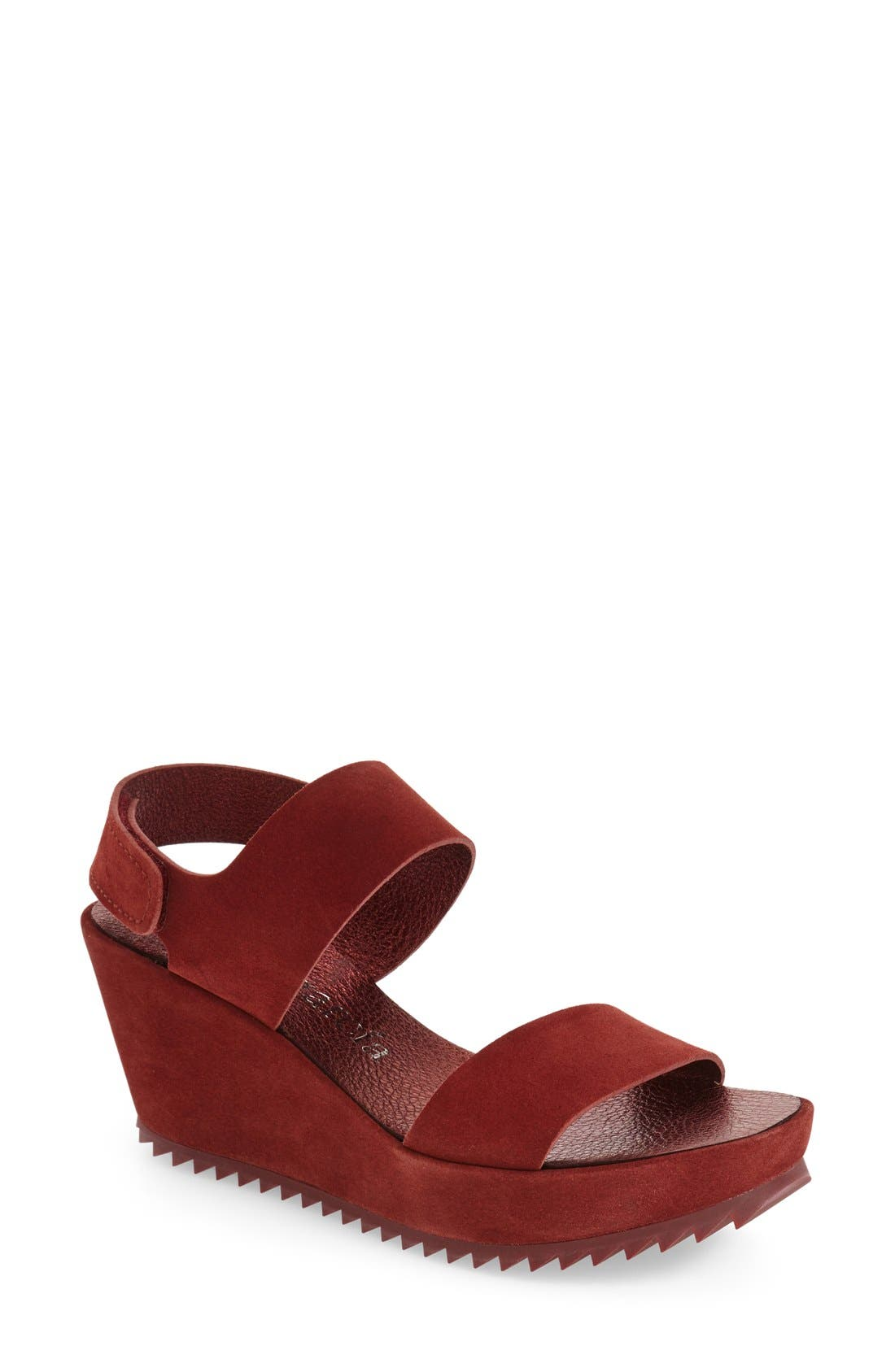 'Fiona' Wedge Sandal,                             Main thumbnail 1, color,                             Red Leather