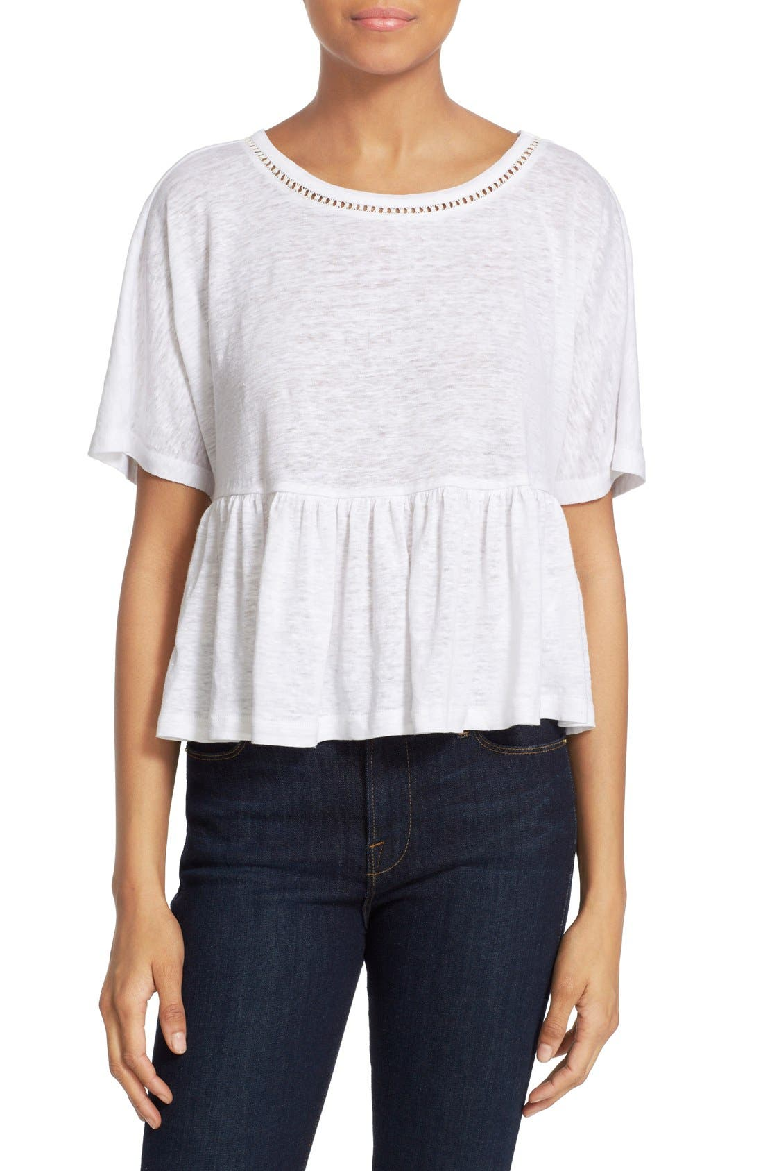 Alternate Image 1 Selected - Rebecca Taylor Ruffle Linen Jersey Tee