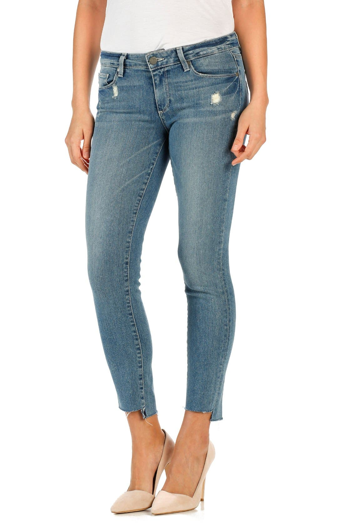 Alternate Image 1 Selected - PAIGE 'Skyline' Cutoff Ankle Peg Skinny Jeans (Wiley)