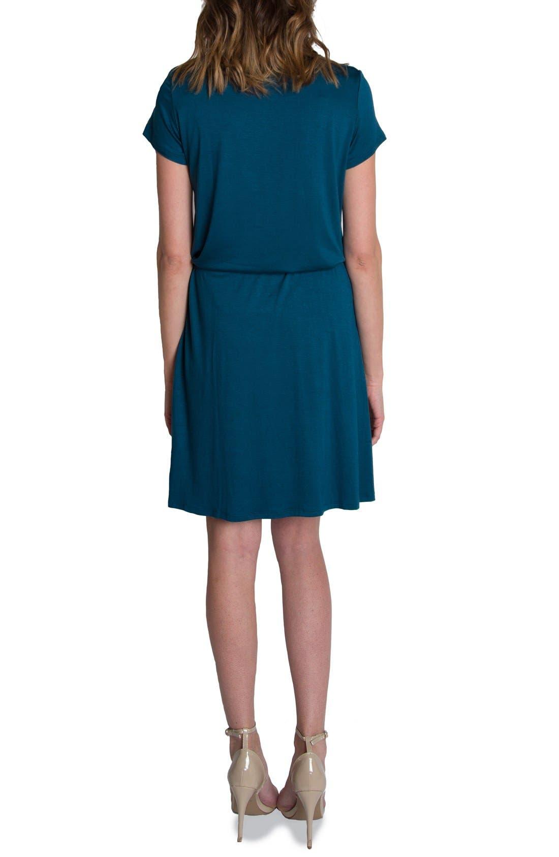 'Chic' Cowl Neck Nursing Dress,                             Alternate thumbnail 2, color,                             Teal