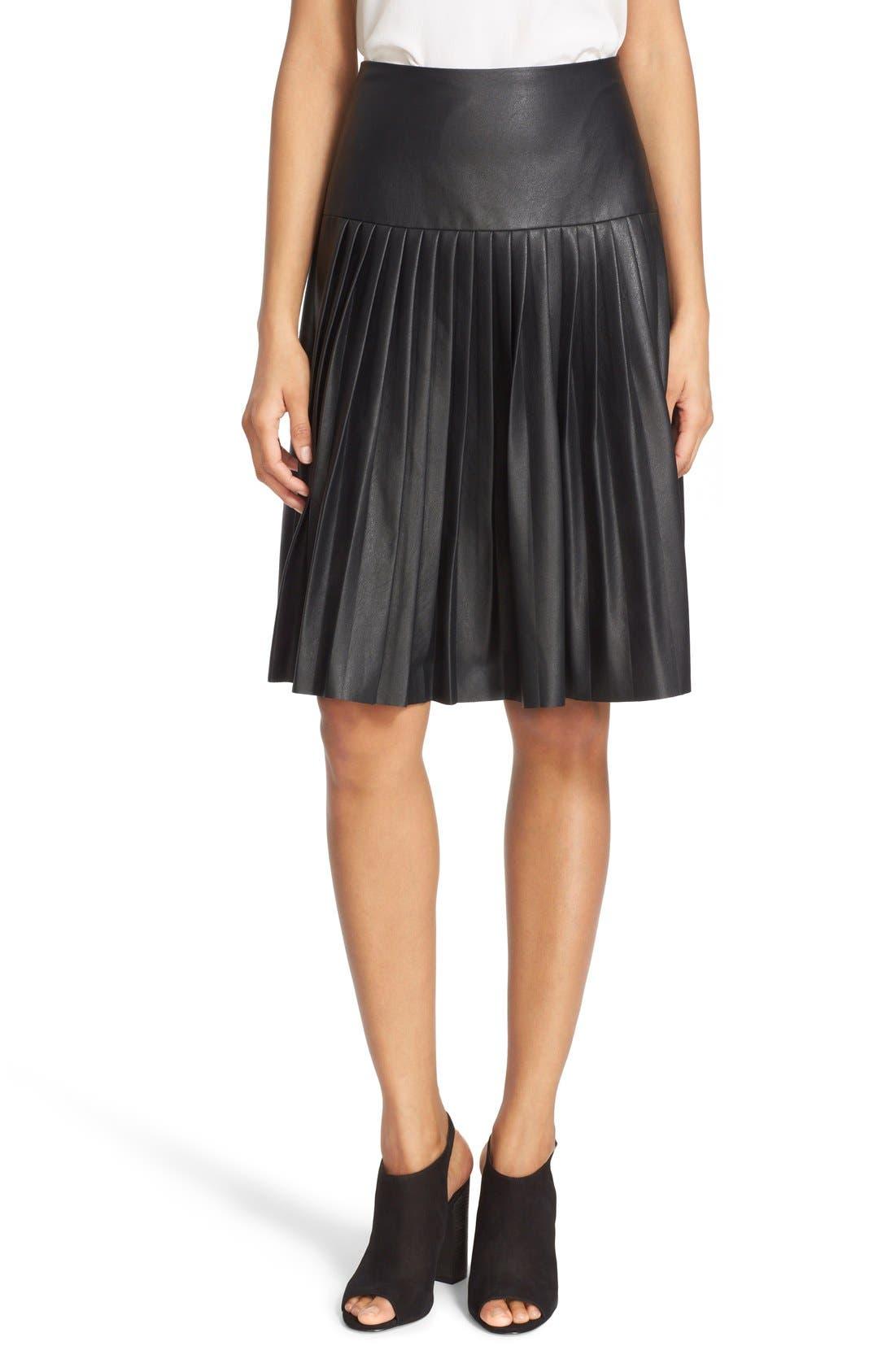 Faux Leather Pleated Drop Yoke Skirt,                         Main,                         color, Black
