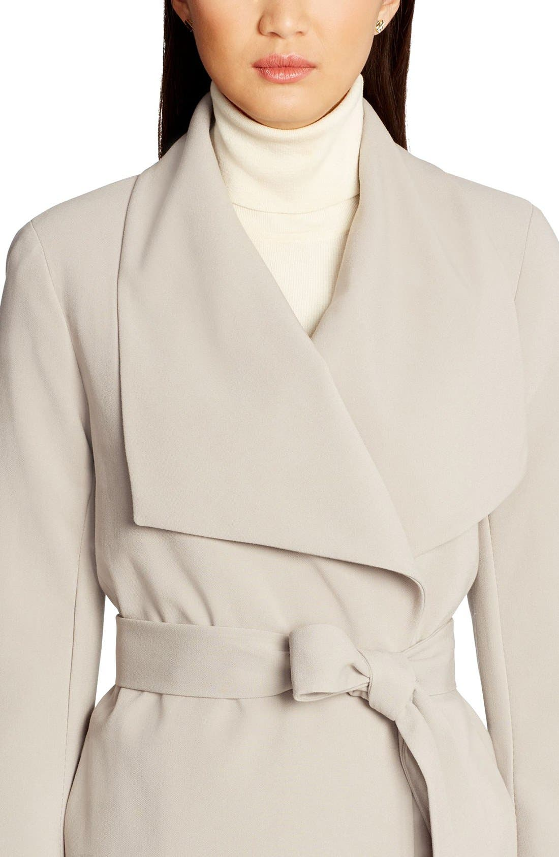 Belted Drape Front Coat,                             Alternate thumbnail 3, color,                             Cork