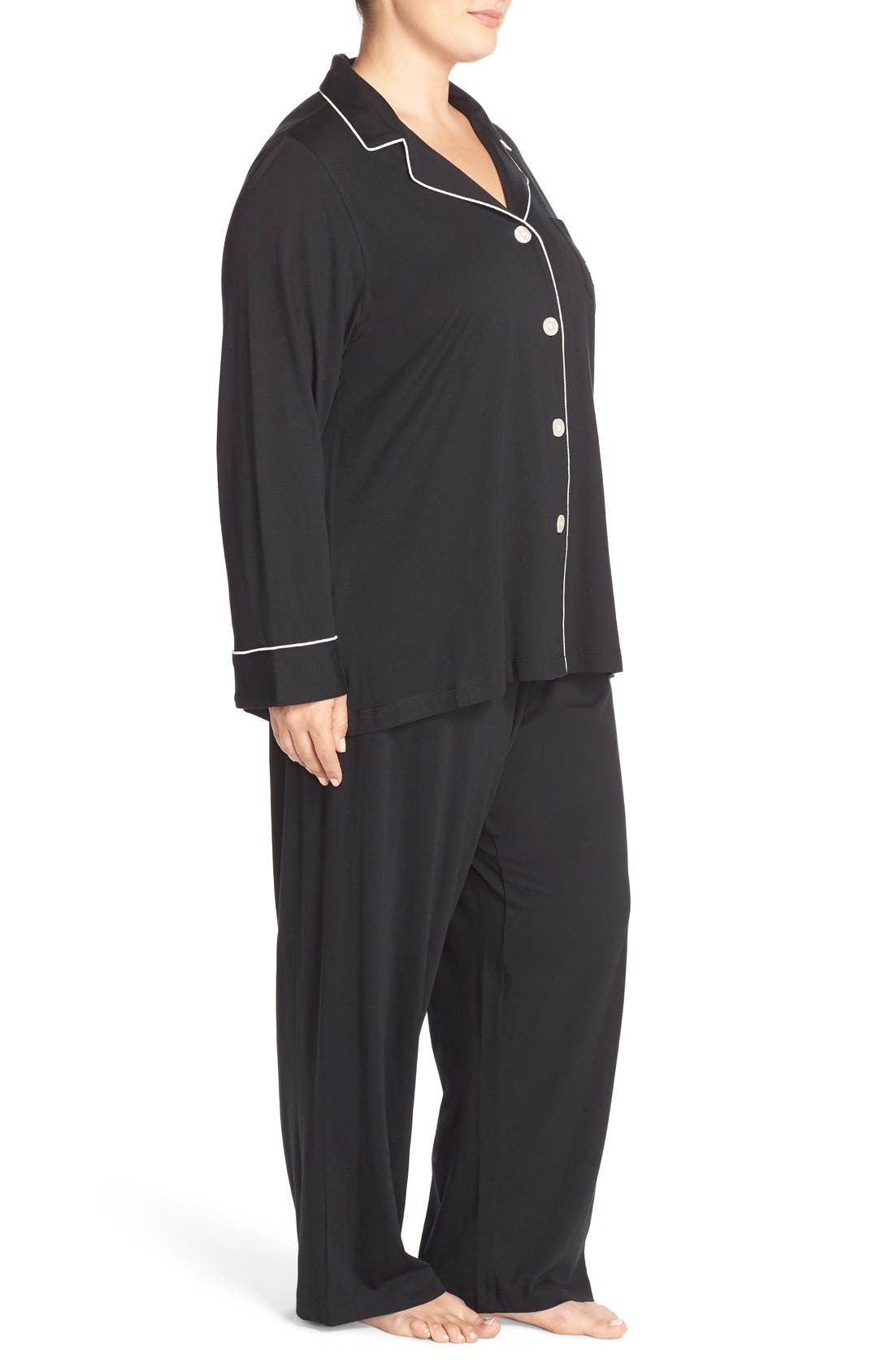 Knit Pajamas,                             Alternate thumbnail 3, color,                             Black