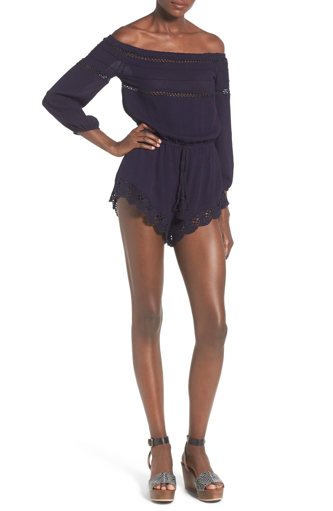Main Image - Sun & Shadow Lace Trim Off the Shoulder Romper