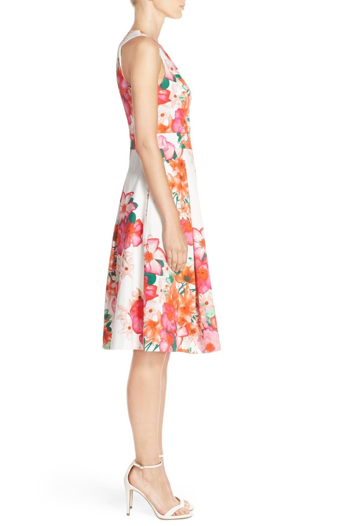 Floral Print Fit & Flare Dress,                             Alternate thumbnail 3, color,                             Pink/ Orange/ Green