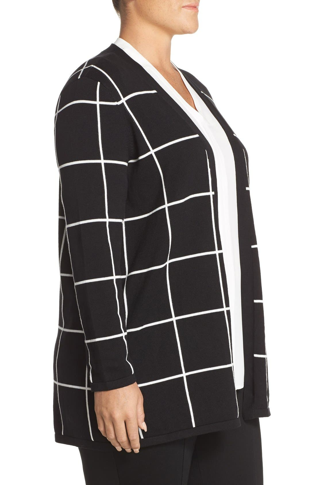 Alternate Image 3  - Vince Camuto Windowpane Intarsia Open Front Cardigan (Plus Size)