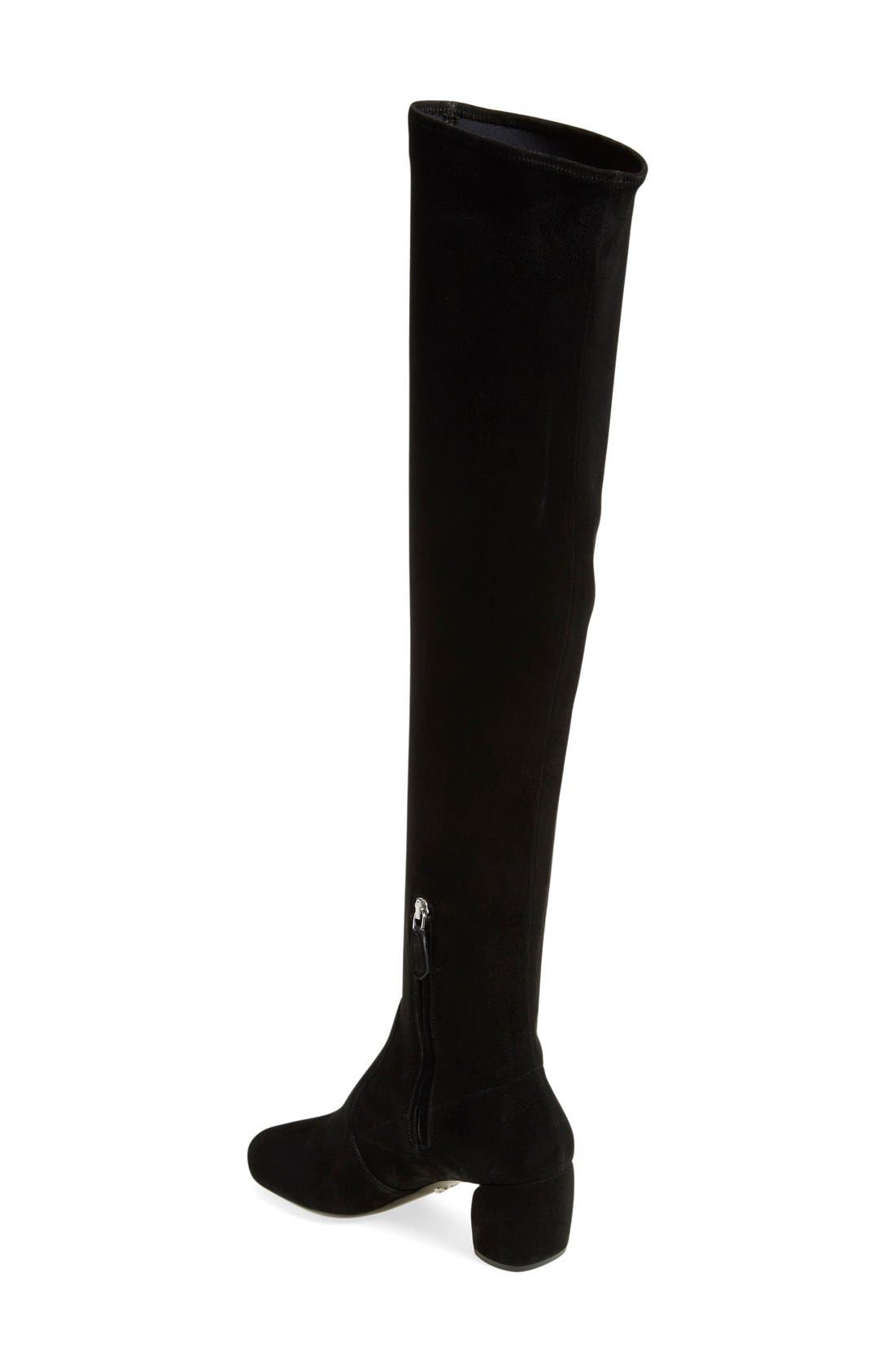 Over the Knee Boot,                             Alternate thumbnail 2, color,                             Black Suede