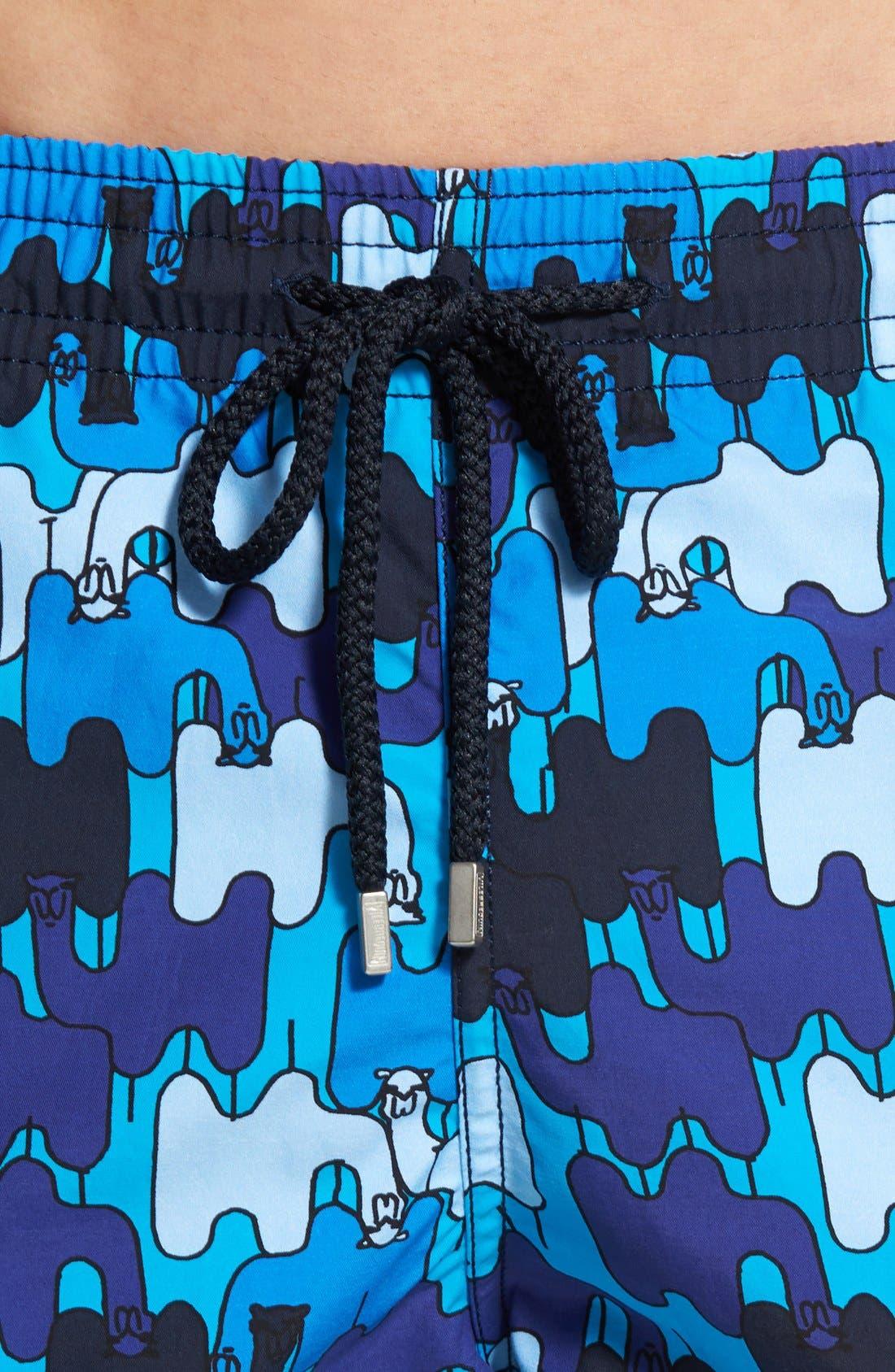 'Moorea - Camels' Print Swim Trunks,                             Alternate thumbnail 4, color,                             Swimming Pool
