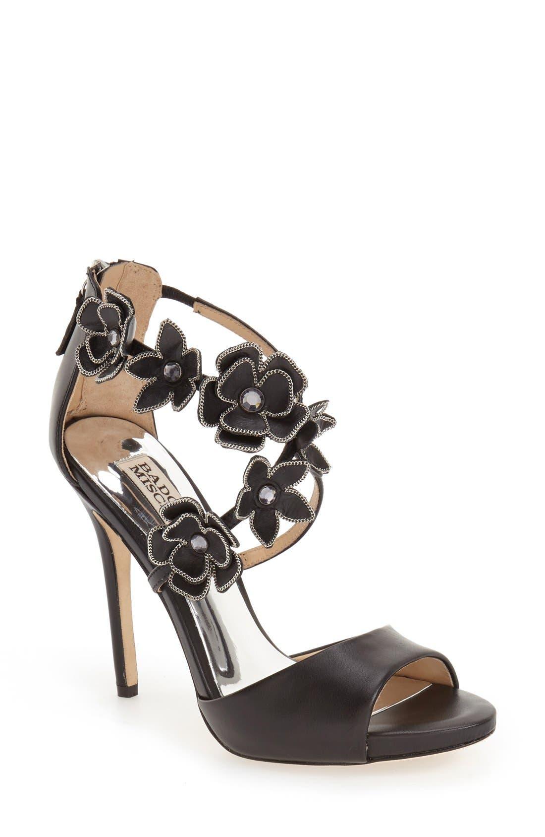 Alternate Image 1 Selected - Badgley Mischka 'Langley' Floral Appliqué Sandal (Women)