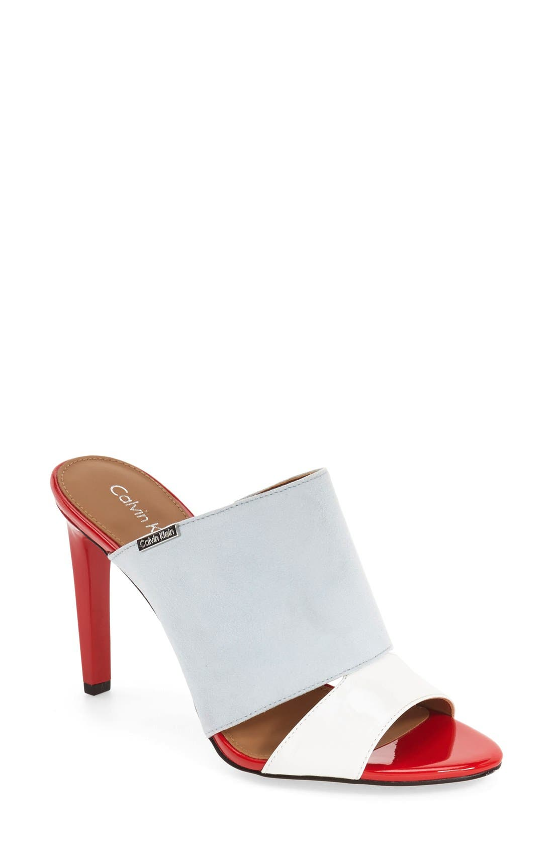 'Ninfa' Mule,                         Main,                         color, Platinum White Patent
