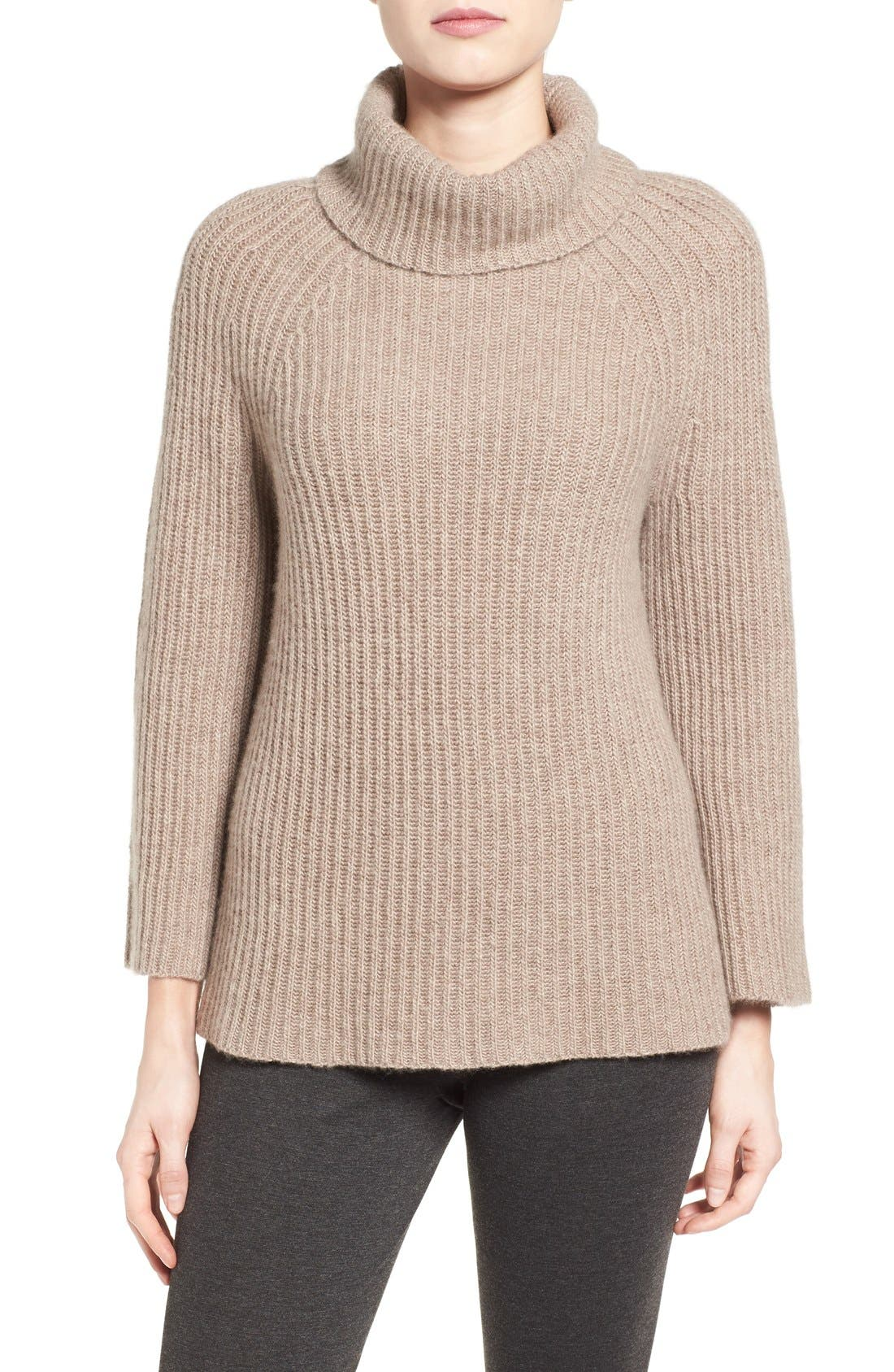 Alternate Image 1 Selected - Halogen® Ribbed Cashmere Turtleneck Sweater (Regular & Petite)