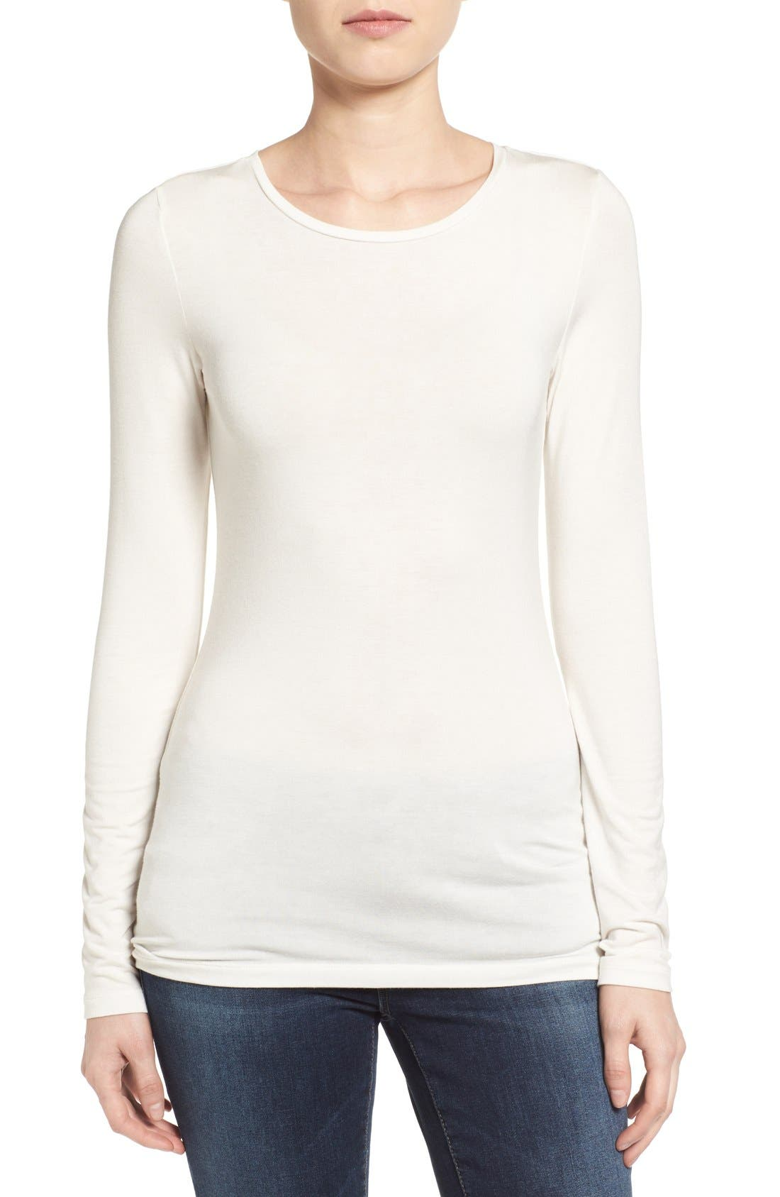 Halogen® Long Sleeve Modal Blend Tee (Regular & Petite)