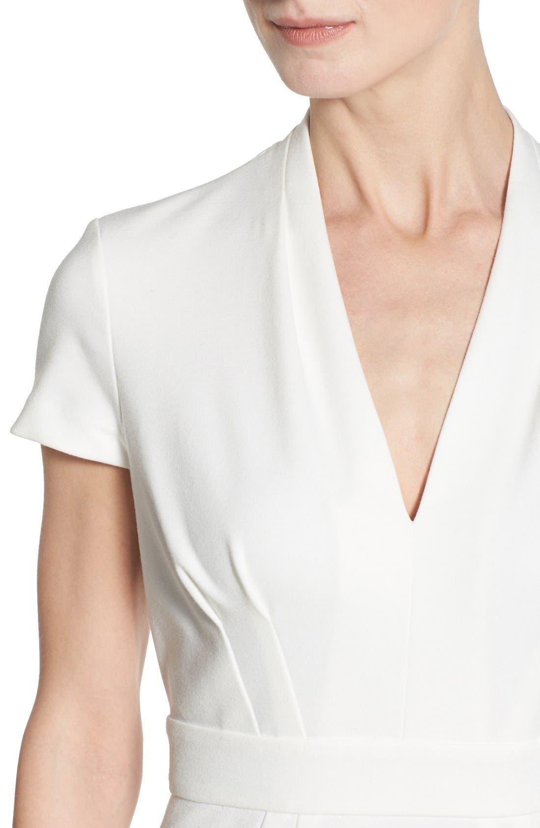 'Dale' V-Neck Sheath Dress,                             Alternate thumbnail 4, color,                             White