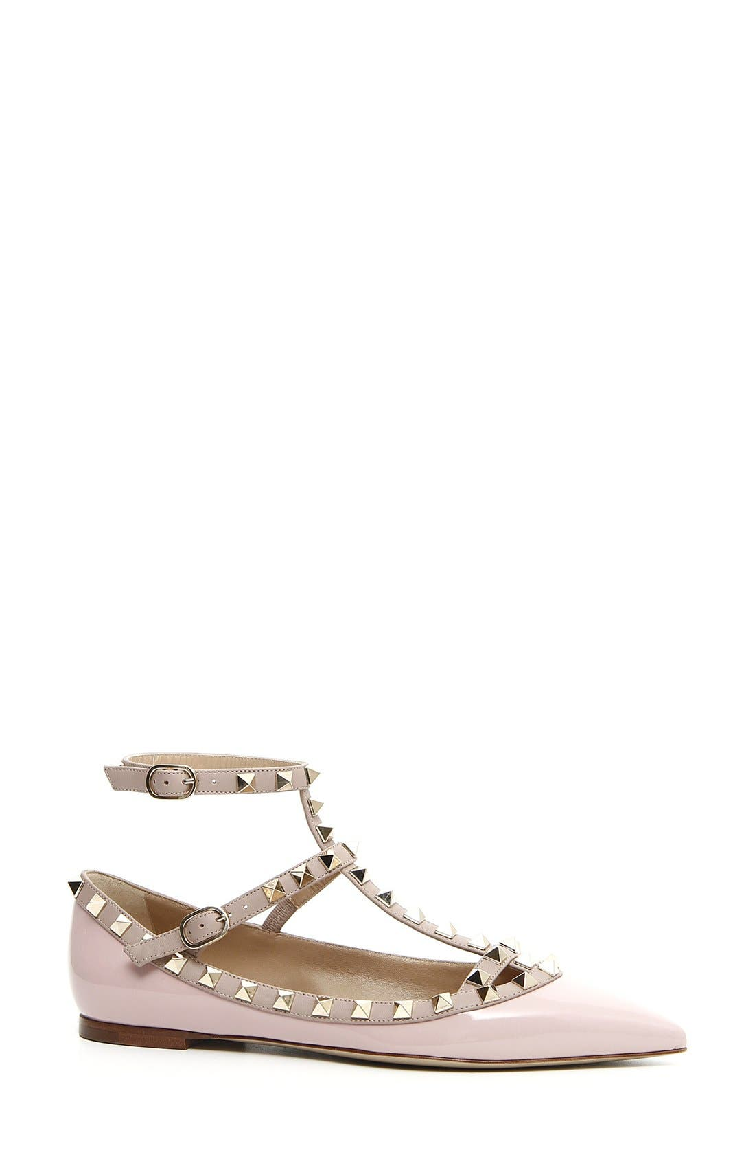 Alternate Image 1 Selected - VALENTINO GARAVANI 'Rockstud' T-Strap Flat (Women)