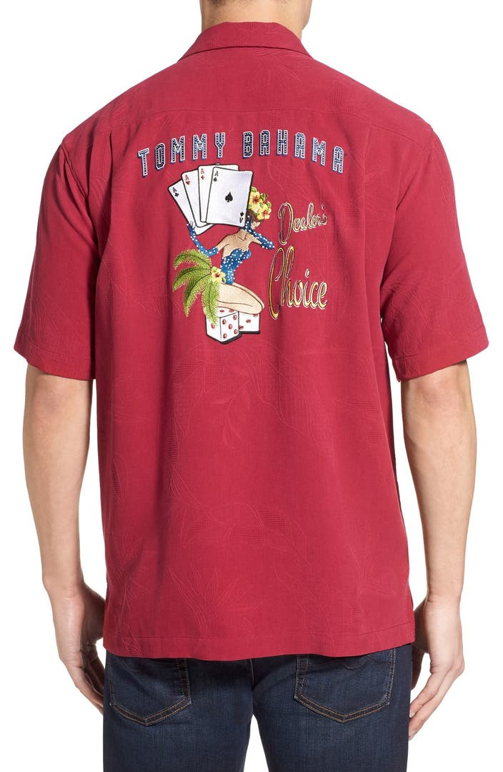 Tommy bahama 39 dealer 39 s choice 39 original fit embroidered for Tommy bahama embroidered silk camp shirt