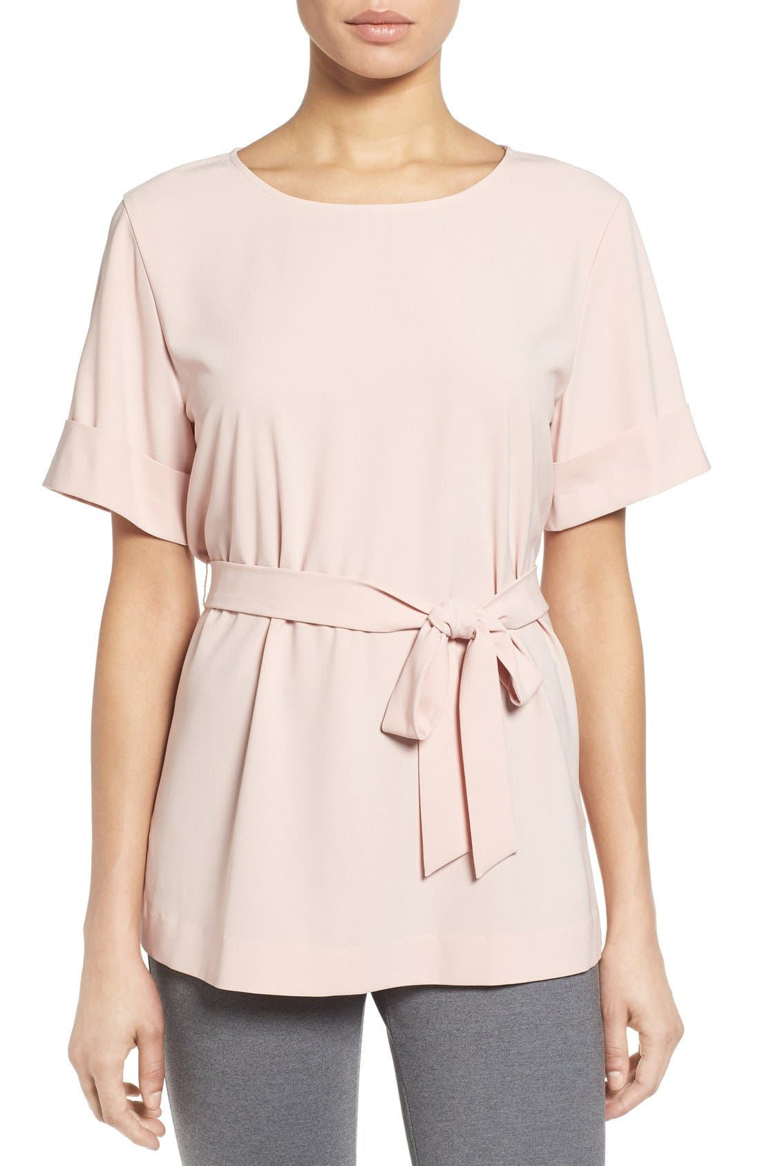 Belted Short Sleeve Top,                         Main,                         color, Pink Smoke