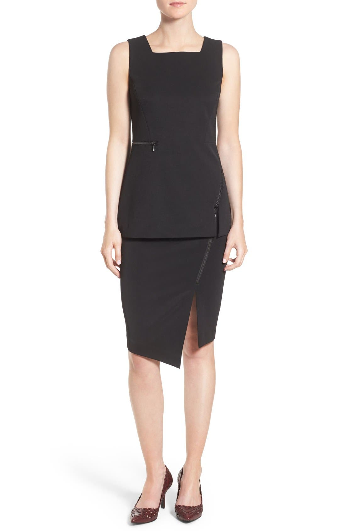 Asymmetrical Zip Pencil Skirt,                             Alternate thumbnail 2, color,                             Black