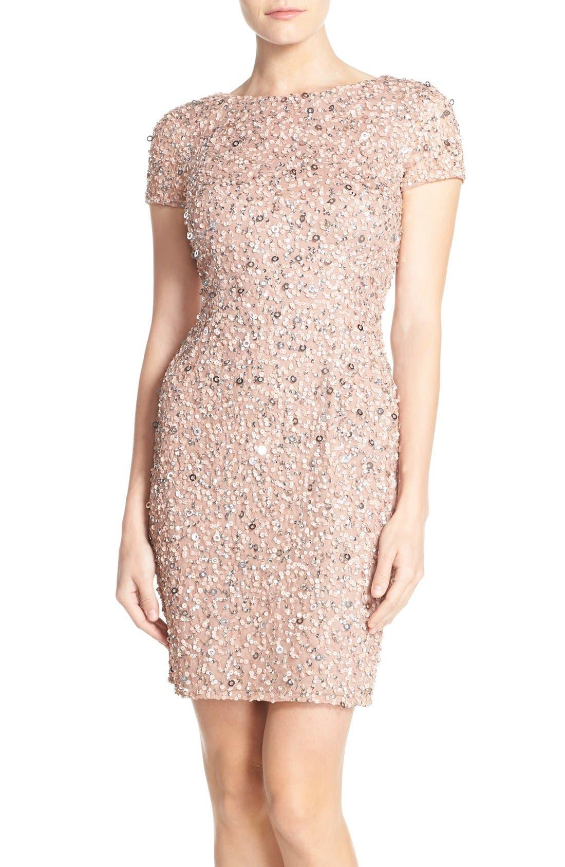 Main Image - Adrianna Papell Sequin Mesh Sheath Dress (Regular & Petite)