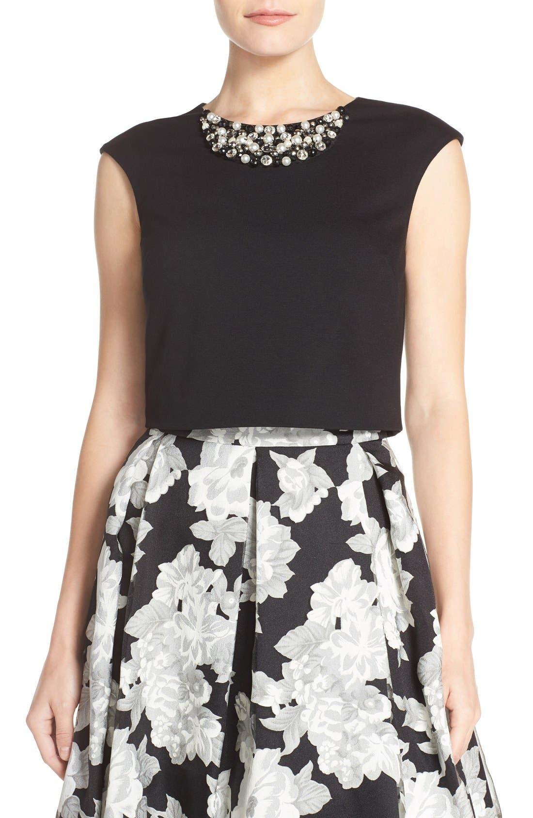 Embellished Crop Top,                         Main,                         color, Black