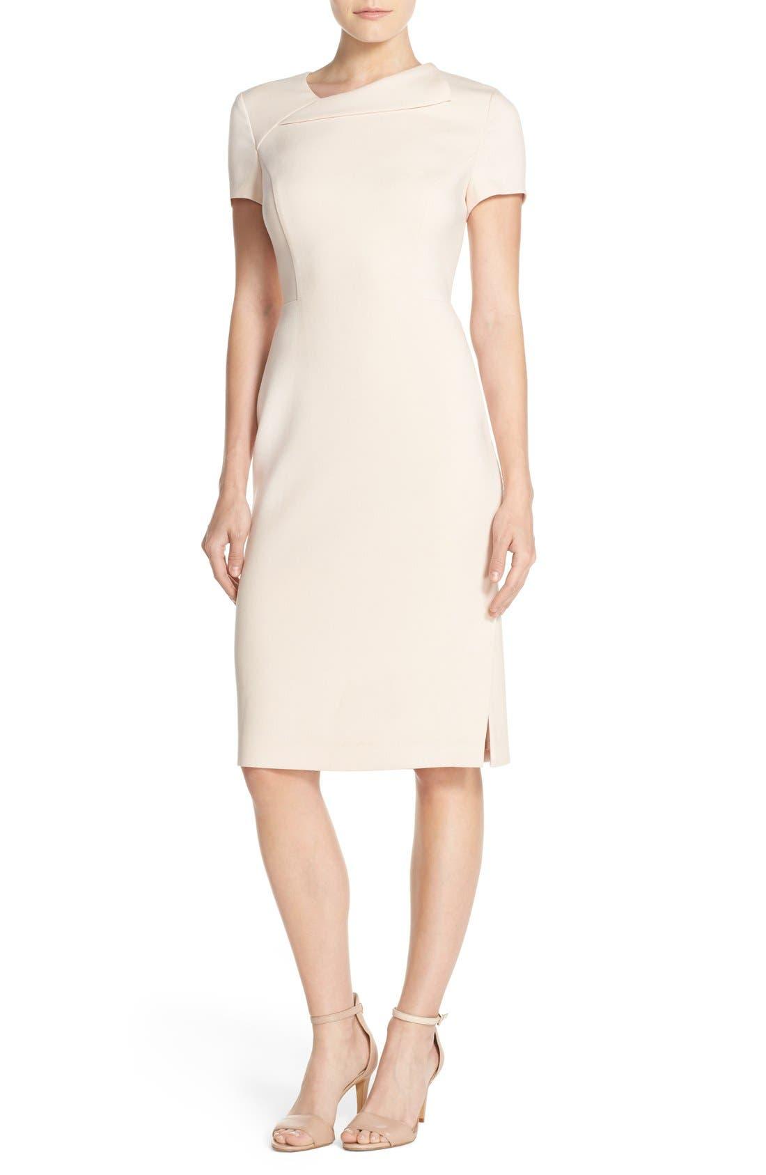 Main Image - Vince Camuto Asymmetrical Crepe Sheath Dress (Regular & Petite)