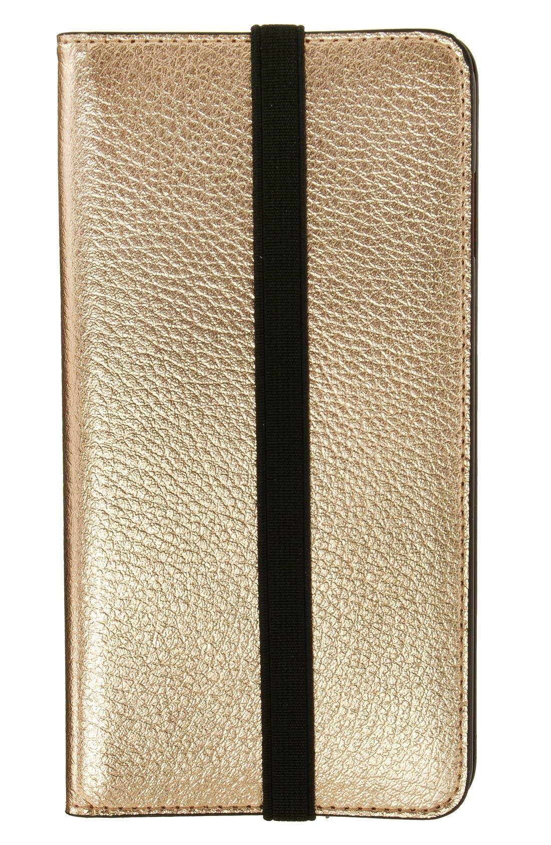 iPhone 6 Plus/6s Plus Metallic Leather Wallet Case,                         Main,                         color, Metallic Gold/ Fuchsia